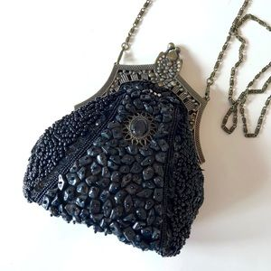 Black beaded clutch bag - vintage NEW
